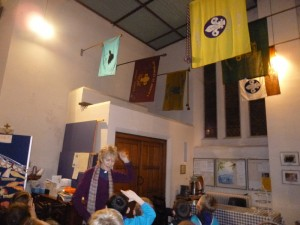 The group flags in the church